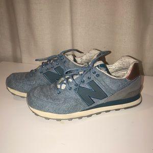Women's New Balance 574 Light Blue Denim Sneakers